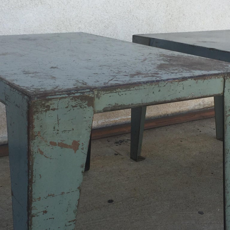 Steel Pair of Weathered Industrial End Tables or Side Tables For Sale