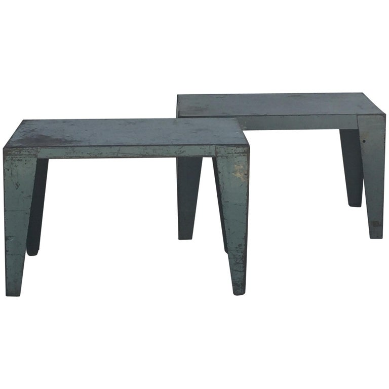 Pair of Weathered Industrial End Tables or Side Tables For Sale