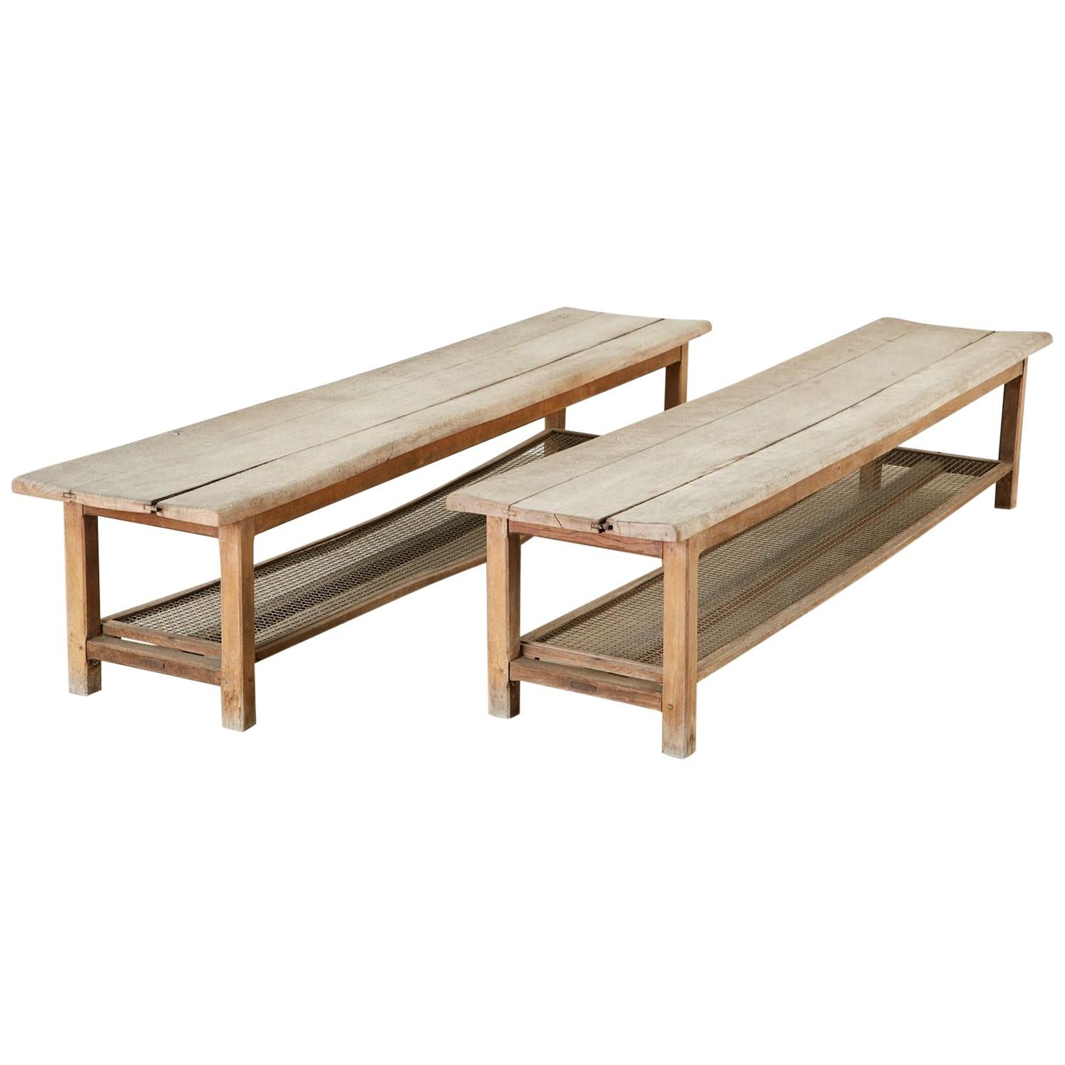 Pair of Weathered Pine Benches with Storage Shelves
