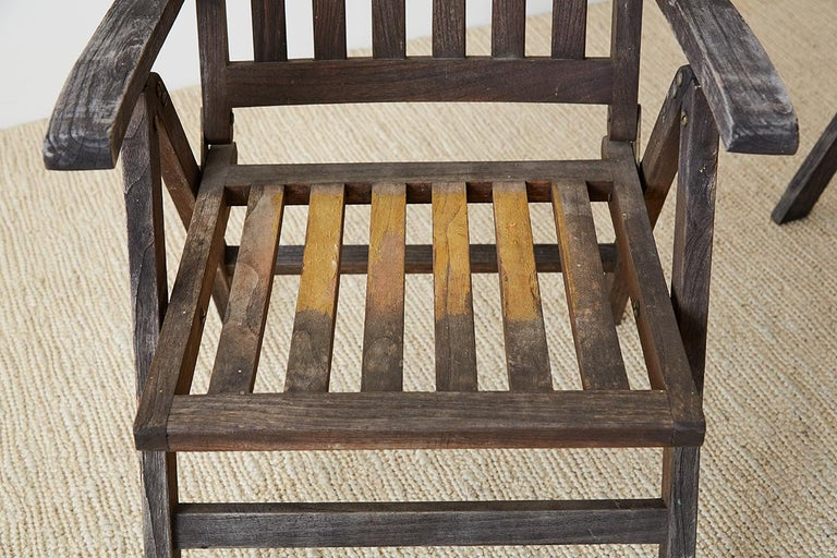 Pair of Weathered Vintage Teak Folding Chairs For Sale 3