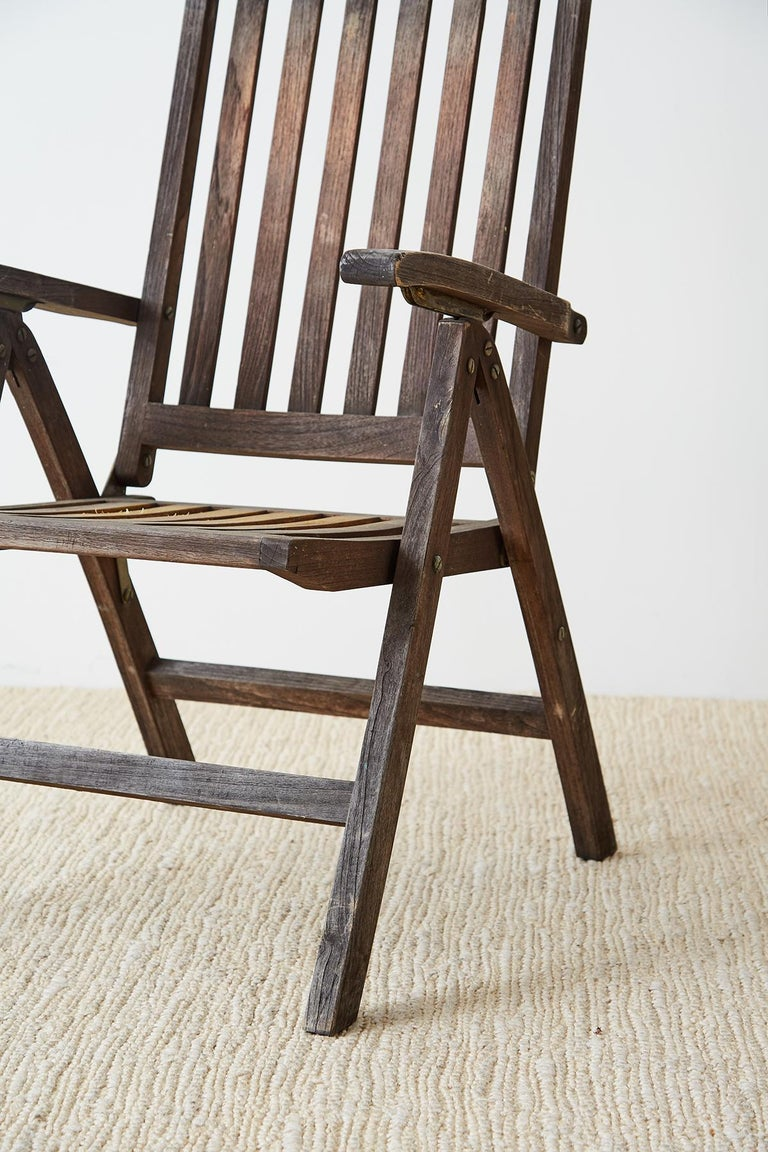 Pair of Weathered Vintage Teak Folding Chairs For Sale 4