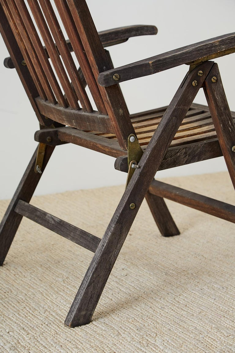 Pair of Weathered Vintage Teak Folding Chairs For Sale 5