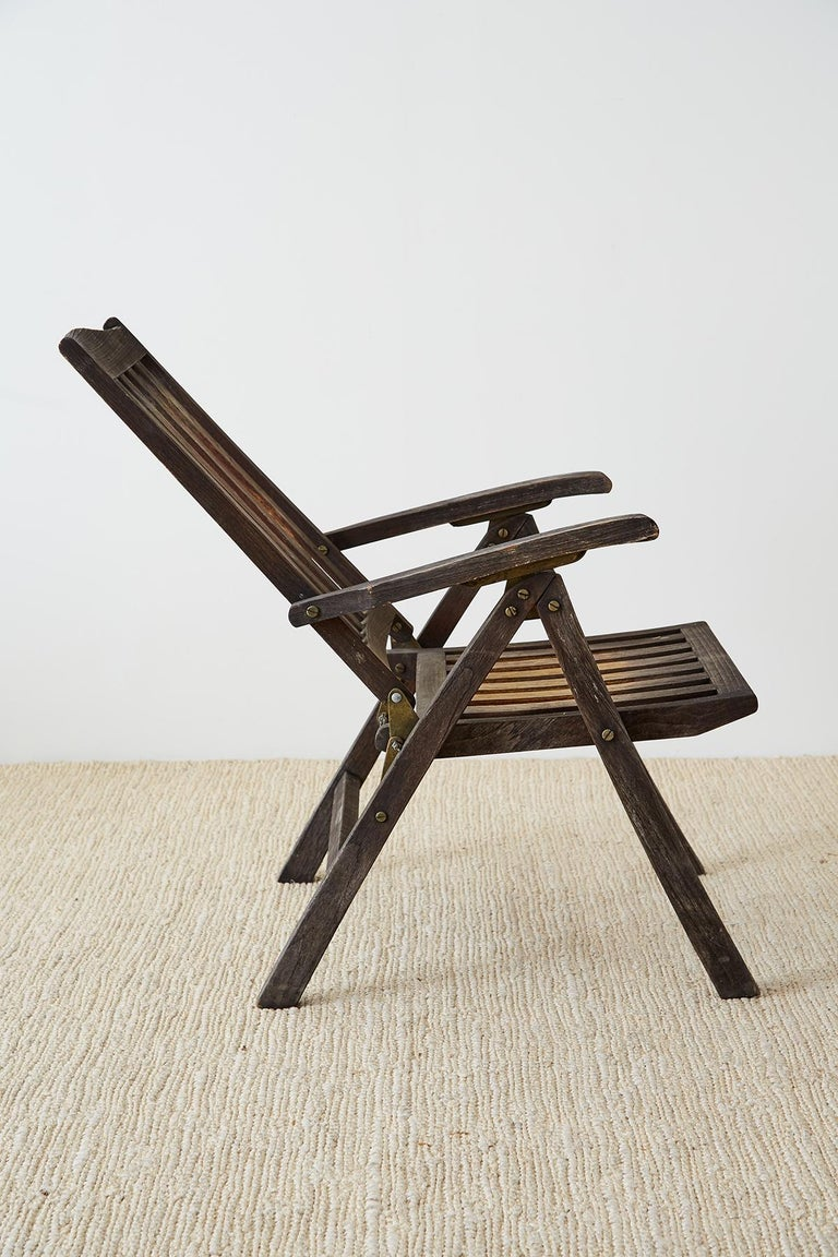 Pair of Weathered Vintage Teak Folding Chairs For Sale 6