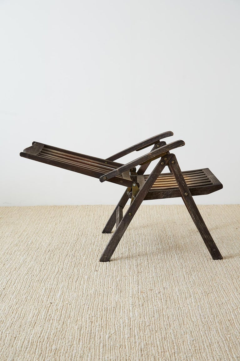 Pair of Weathered Vintage Teak Folding Chairs For Sale 7