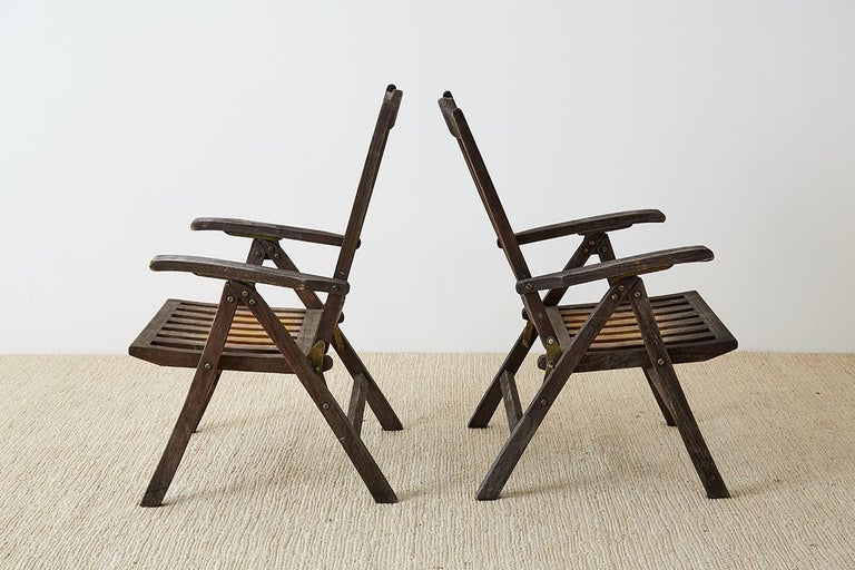 American Pair of Weathered Vintage Teak Folding Chairs For Sale