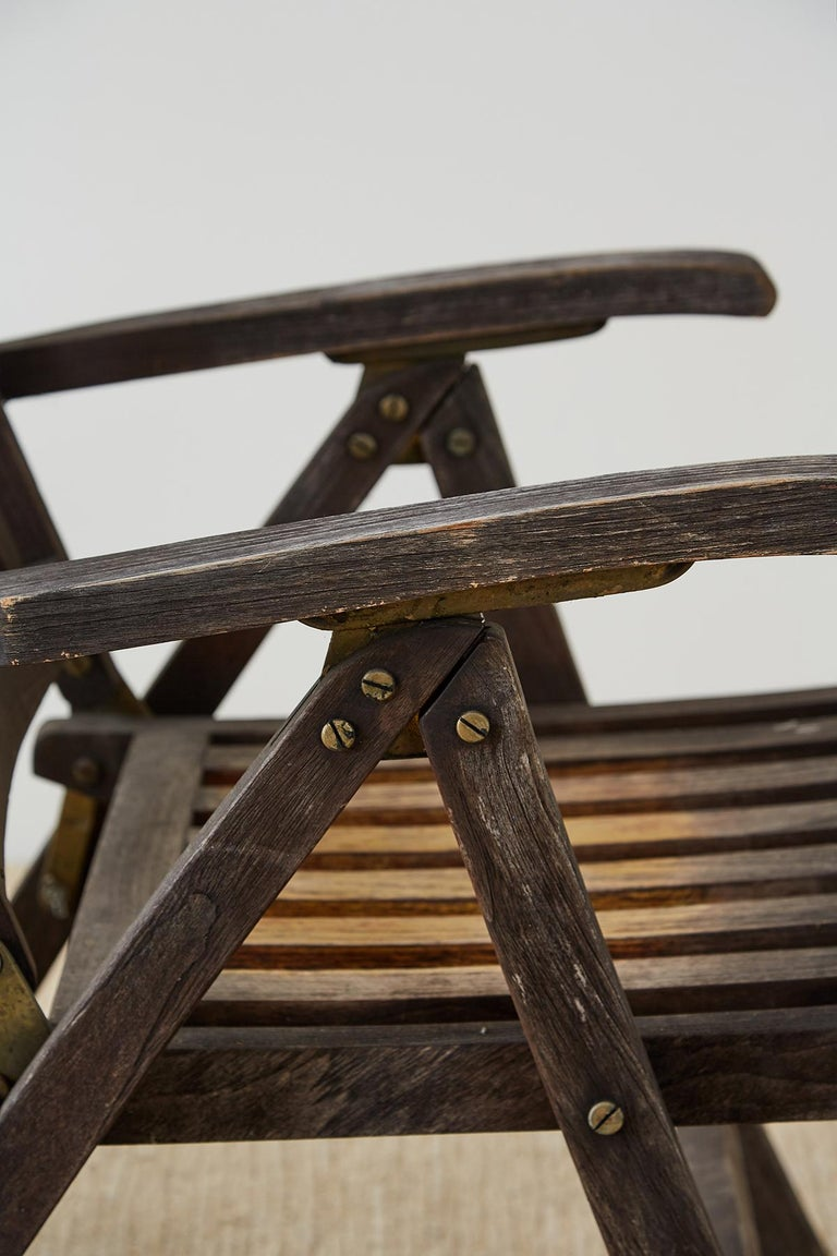 Pair of Weathered Vintage Teak Folding Chairs For Sale 2