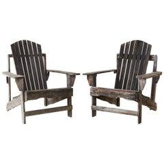 Pair of Weathered Westport Plank Adirondack Chairs