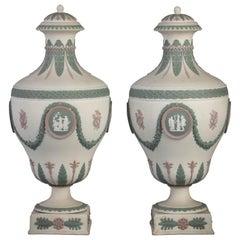 Pair of Wedgwood Basalt Tri-Color Covered Urns, circa 1890