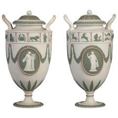 Pair of Wedgwood Basalt Tri-Color Two-Handled Vases, circa 1890