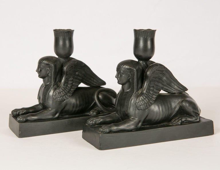 English Pair of Wedgwood Black Basalt Sphinxes Made, circa 1840 For Sale