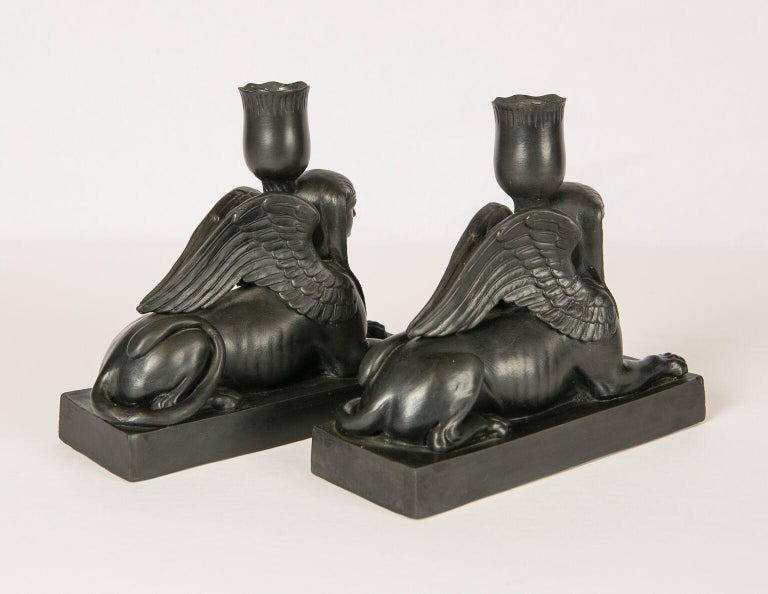 19th Century Pair of Wedgwood Black Basalt Sphinxes Made, circa 1840 For Sale