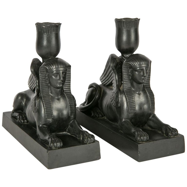 Pair of Wedgwood Black Basalt Sphinxes Made, circa 1840 For Sale
