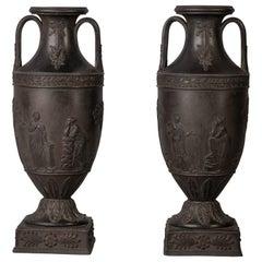 Pair of Wedgwood Black Basalt Two-Handled Vases, circa 1900