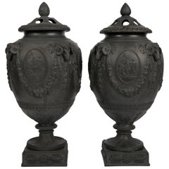 Pair of Wedgwood Black Basalt Urns Made in England circa 1820