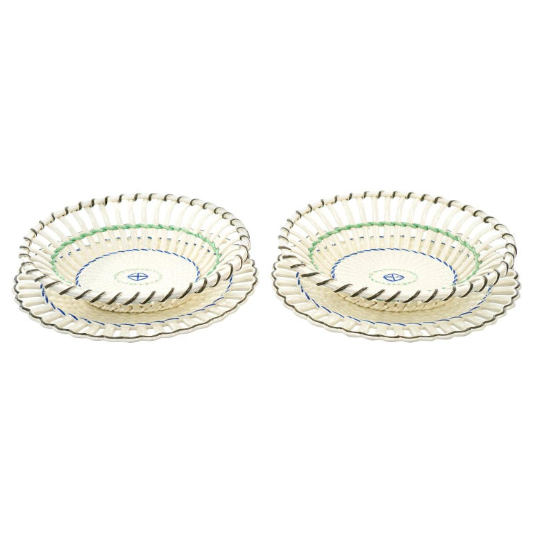 Pair of Wedgwood Creamware Chestnut Baskets and Underplates For Sale