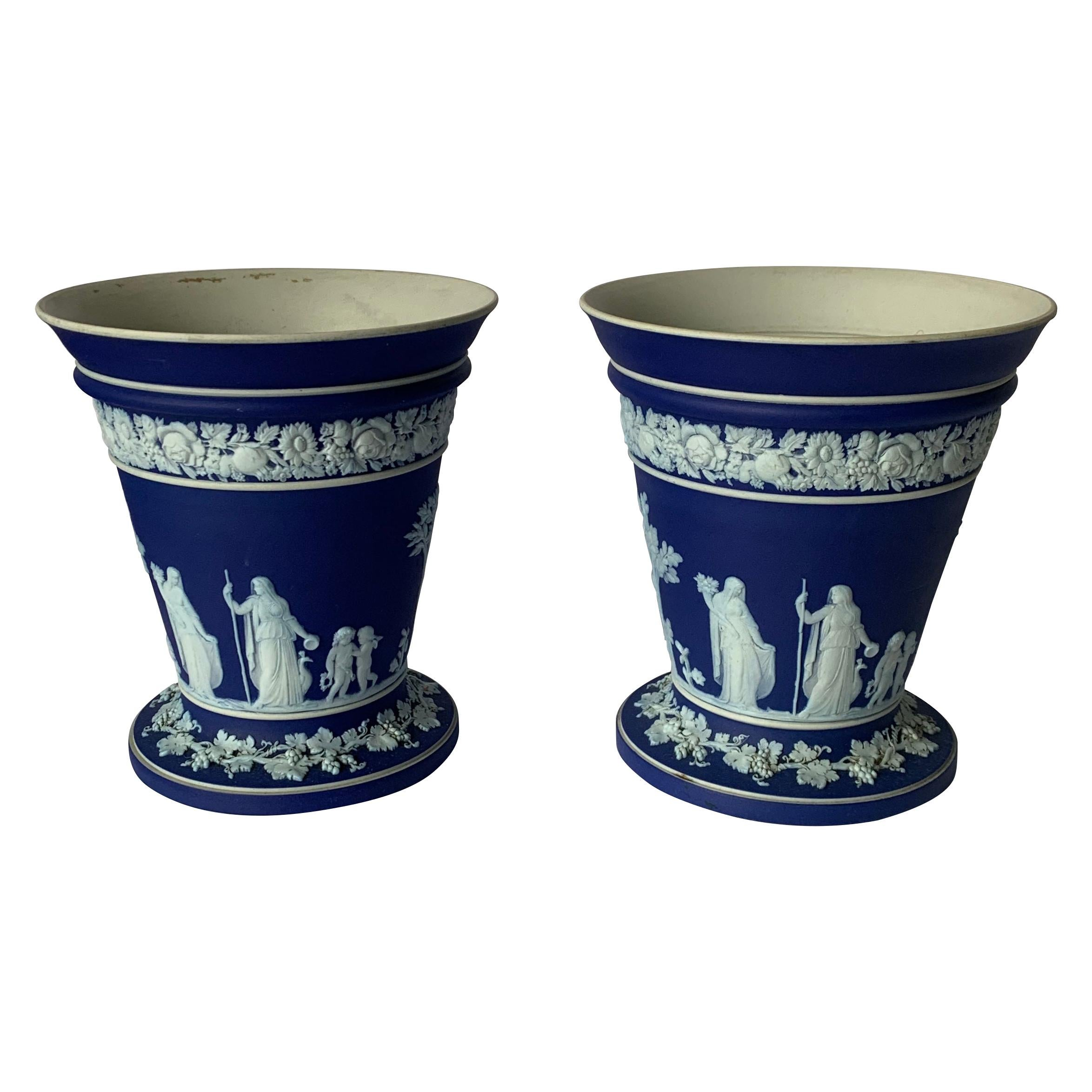 Pair of Wedgwood Dark Blue and White Vases