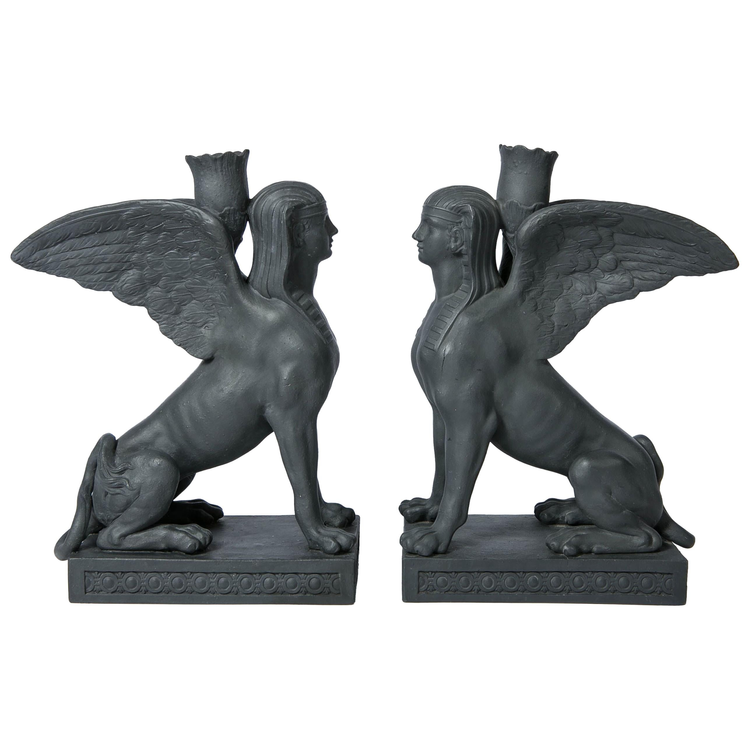 Pair of Wedgwood Egyptian Revival Black Basalt Sphinxes Made 18th Century