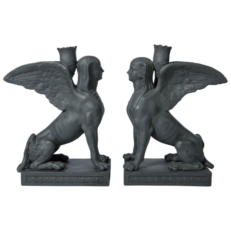 Pair of Wedgwood Egyptian Revival Black Basalt Sphinxes Made 18th Century For Sale