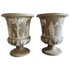 Pair of Wedgwood Light Brown and White Vases
