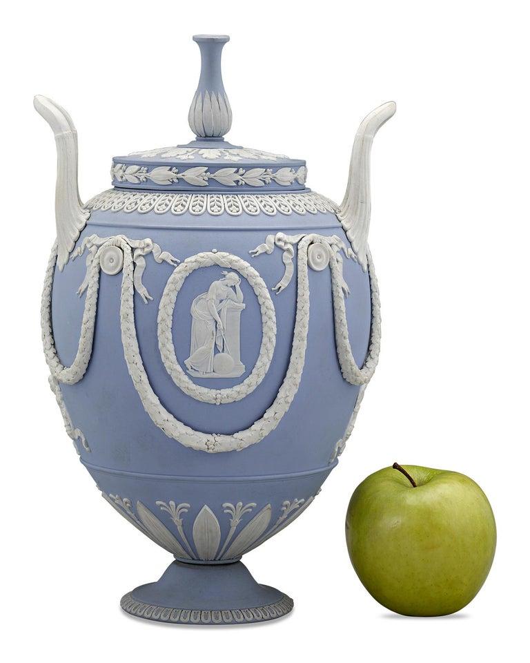18th Century and Earlier Pair of Wedgwood Neoclassical Blue Jasperware Urns