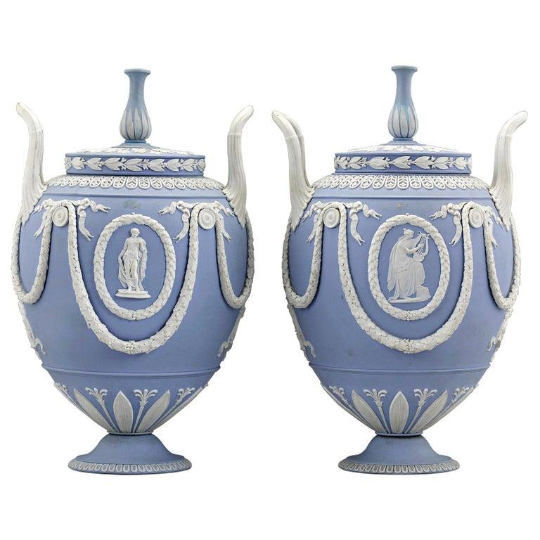 Pair of Wedgwood Neoclassical Blue Jasperware Urns