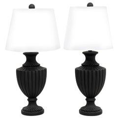 Pair of Wedgewood Style Black Basalt Ware Urn Lamps