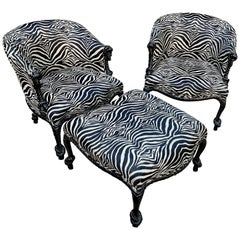 Pair of Weiman Napoleon III Rope Armchairs and Matching Ottoman in Zebra