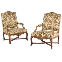 Pair of Well Carved Louis XV Period Fauteuils