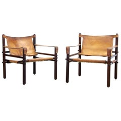 Pair of Wengé Arne Norell Model Sirocco Safari Chairs by Norell AB, Sweden, 1960