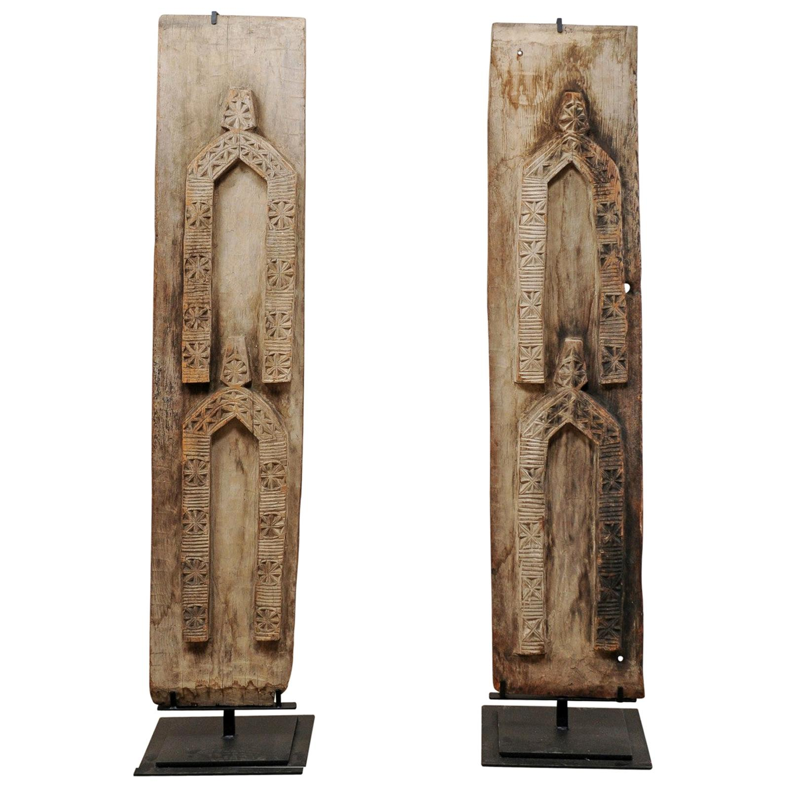 Pair of West African Carved-Wood Panels Raised on Custom Stands