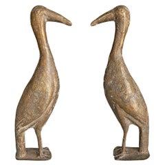 Pair of West African Cast Bronze Birds