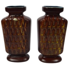 Pair of West German Pottery Vases by Üebelacker Keramik, Germany, 1950s
