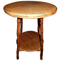 Pair of Vintage  West Indies Bamboo and Cane Side Tables