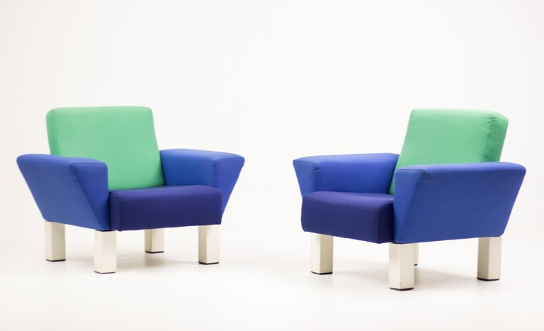Enameled Pair of 'Westside' Armchairs by Ettore Sottsass for Knoll For Sale