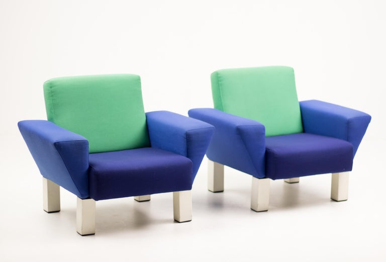 Enameled Pair of 'Westside' Armchairs by Ettore Sottsass for Knoll