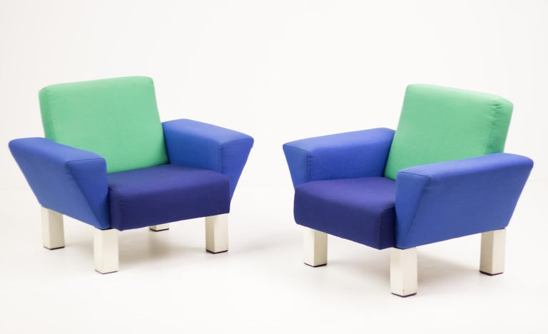 Steel Pair of 'Westside' Armchairs by Ettore Sottsass for Knoll For Sale
