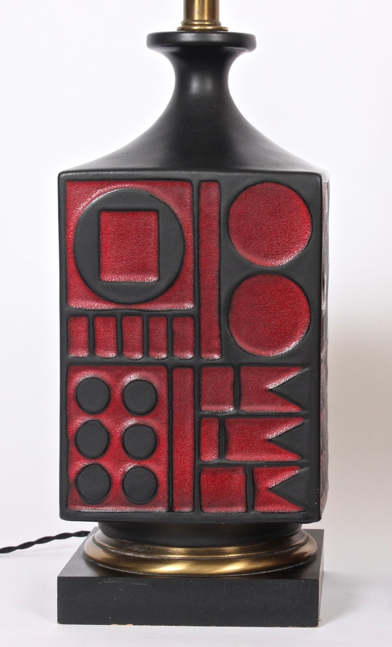 Pair of Westwood Studios Black and Red Geometric Imprint Ceramic Lamps, 1950s For Sale 3