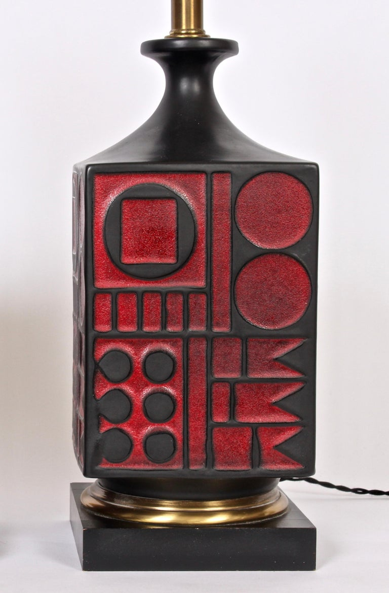 Pair of Westwood Studios Black and Red Geometric Imprint Ceramic Lamps, 1950s For Sale 4