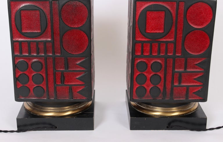 Pair of Westwood Studios Black and Red Geometric Imprint Ceramic Lamps, 1950s For Sale 5