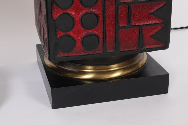 Pair of Westwood Studios Black and Red Geometric Imprint Ceramic Lamps, 1950s For Sale 6