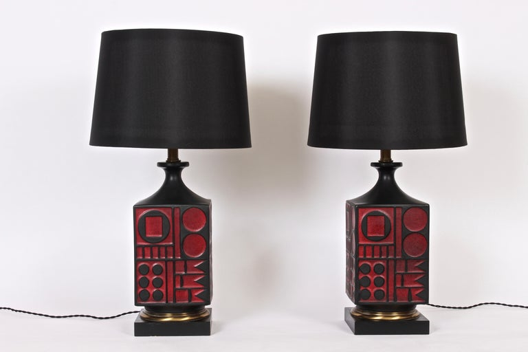 Pair of Westwood Studios Black and Red Geometric Imprint Ceramic Lamps, 1950s For Sale 8
