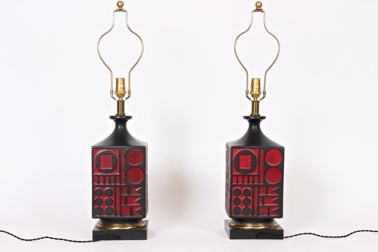 Pair of Westwood Studios Black and Red Geometric Imprint Ceramic Lamps, 1950s For Sale 9