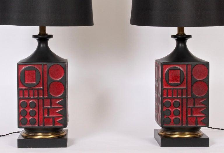 American Pair of Westwood Studios Black and Red Geometric Imprint Ceramic Lamps, 1950s For Sale