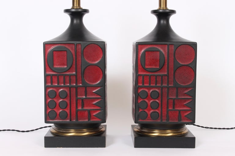 Glazed Pair of Westwood Studios Black and Red Geometric Imprint Ceramic Lamps, 1950s For Sale