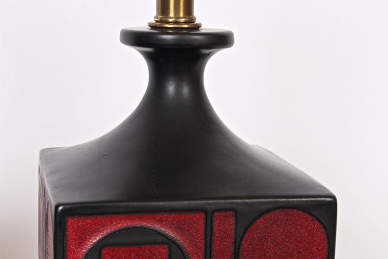 Pair of Westwood Studios Black and Red Geometric Imprint Ceramic Lamps, 1950s In Good Condition For Sale In Bainbridge, NY
