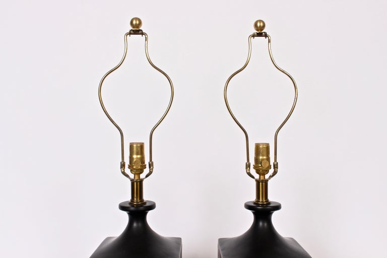 Pair of Westwood Studios Black and Red Geometric Imprint Ceramic Lamps, 1950s For Sale 2