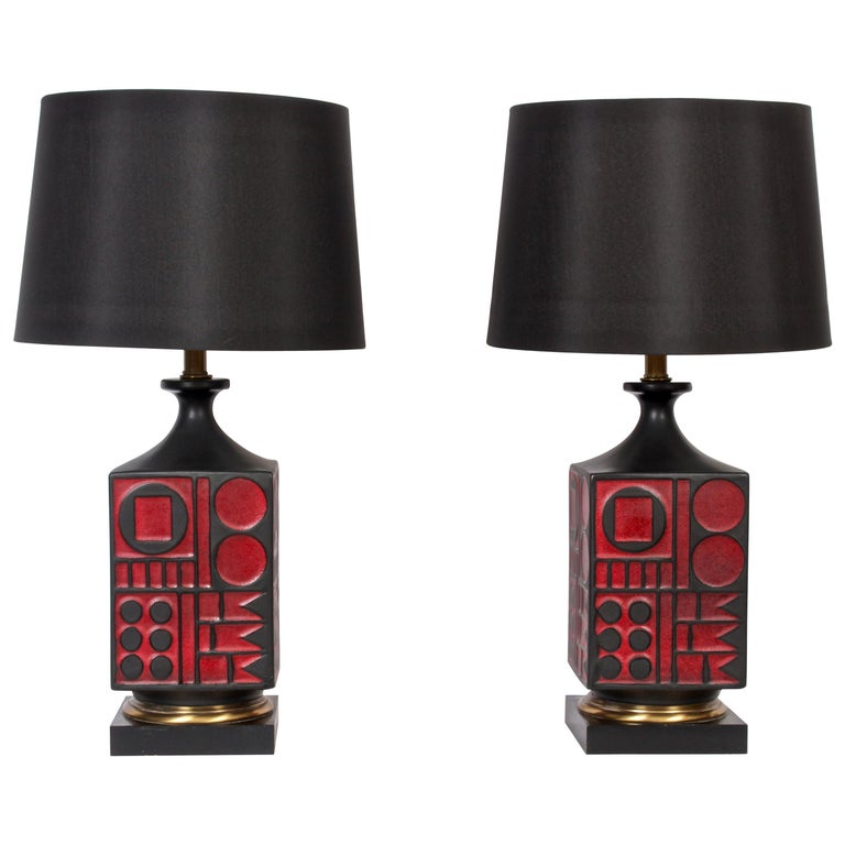 Pair of Westwood Studios Black and Red Geometric Imprint Ceramic Lamps, 1950s For Sale