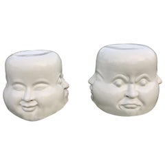 Pair of Whimsical Blanc de Chine Garden Seat End Tables with Faces