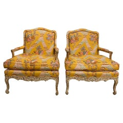 Pair of Whimsical French Louis XVI Bergères Bergère Chairs