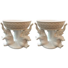 Pair of Whimsical Italian White Ceramic Pottery Centrepieces Bowls